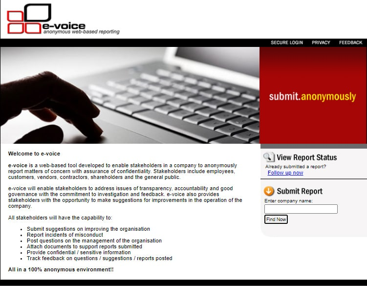 e-Voice Anonymous Reporting System